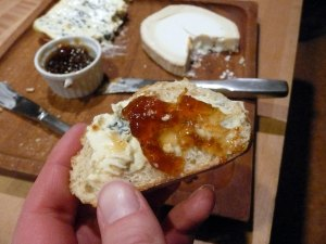 cheese-on-bread with fig jam