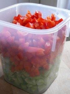 Chopped veggie prep